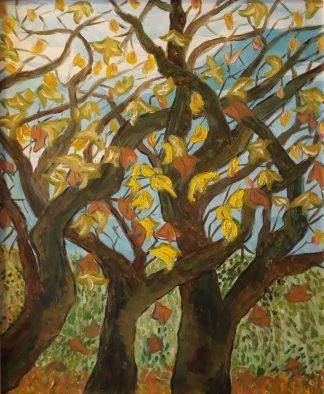 Tres árboles con hojas - Óleo sobre lienzo