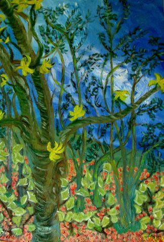 Árboles con cielo azul - Óleo sobre lienzo