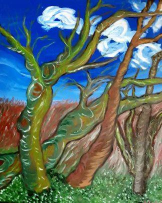 Cuatro árboles - Óleo sobre lienzo